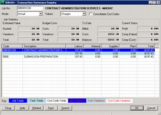 Building and Construction Software - transaction summary enquiry